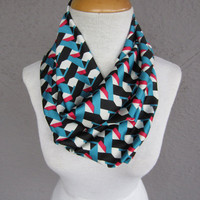 Modern Print Infinity Scarf - Teal, Black, Pink, and White Geometric Scarf - Multi Color Silky Scarf
