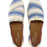 TOMS Navy Umbrella Stripe Espadrille Flat Shoes