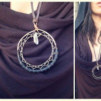 crescent night... hammered copper quartz dream catcher necklace