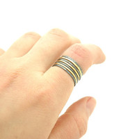 Shiny Polished Raw Brass and Oxidized Sterling Silver Filled Hammered Stack Ring , Skinny Stacking Rings Set of 7 - Simple Modern Minimal