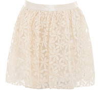 Parisian Cream Flower Lace Skater Skirt