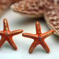 Starfish Earrings with Orange Enamel Finish by thejewelryhutch