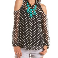 Cold Shoulder Polka Dot Blouse: Charlotte Russe