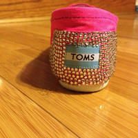 Rhinestone Bright Pink Hand Painted TOMS Shoes by ThePinkPeople