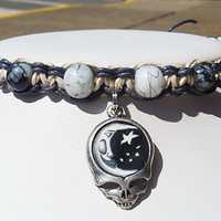 Steal Your Celestial Moon  Grateful Dead Stealie Hemp Anklet    handmade jewelry  hippie
