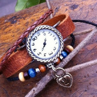 Vintage Style Wrist Watch Brown Leather Bracelet  Wrap Watch, Handmade Women's Watch, Everyday Bracelet  PB026