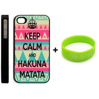 BUNDLE! Apple iPhone 4 4G 4S Keep Calm and Hakuna Matata Aztec Design Retro Hipster Design + Unique Silicone Wristband BLACK HARD PLASTIC SLIM FIT Case Cover Skin Mobile Phone Accessory CASE REPUBLIC PACKAGING