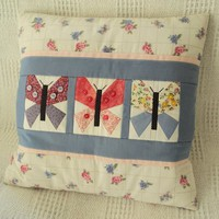 White, Pink & Blue Patchwork Butterfly Cotton Pillow Cover  from Smiling Cat Designs