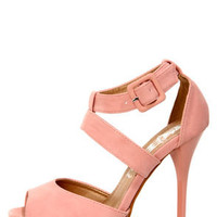 Cherry 1 Blush Pink Peep Toe Platform Heels