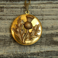 Thistle Locket Necklace in Aged Brass