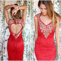 $78.00 vintage red beaded gown  by hazelhallvintage on Etsy