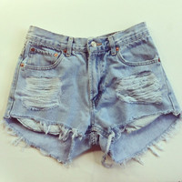 Vintage Levi&#x27;s High Waisted Light Denim Shorts