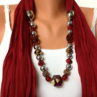 red jewelry scarf - red scarf with crystal and acrylic beads, unique and high fashion jewelry scarf, gift or for you NEW SEASON