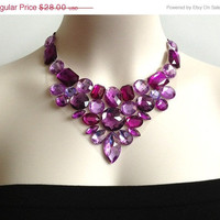 ON SALE purple bib necklace - amethyst purple rhinestone bib unique necklace. bridesmaids, brom, wedding necklace, gift or for you
