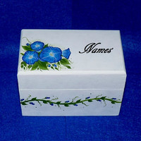 Wedding Guest Book BOX Alternative Victorian Decorative Wood Box- Hand Painted Wedding Keepsake Box 3x5 Cards Made to Order