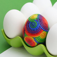 Rainbow Easter Egg in Polymer Clay Filigree by StarlessClay