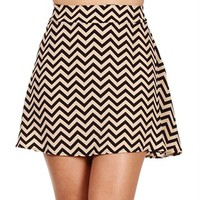 SALE-Chevron Print Skater Skirt