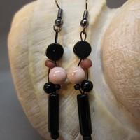 Contemporary Black and Pink Jasper Earrings
