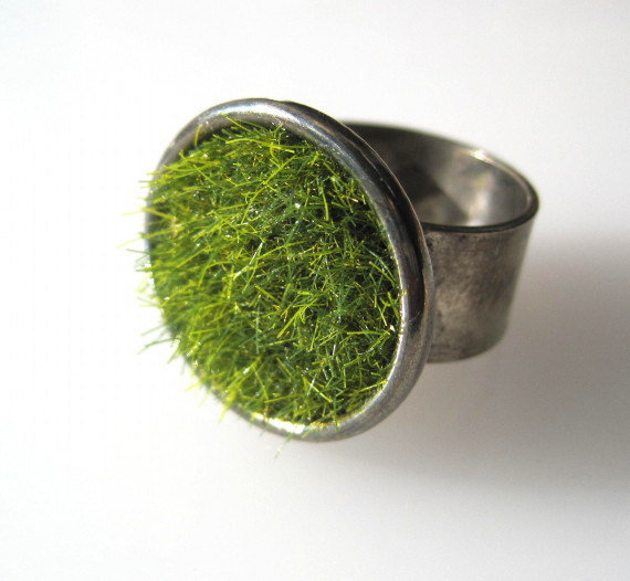 Green Grass Ring in Gun Metal Wide Adjustable by SeahagAndWalrus