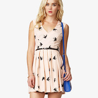 Sparrow Print Dress w/ Skinny Belt | FOREVER21 - 2025101616