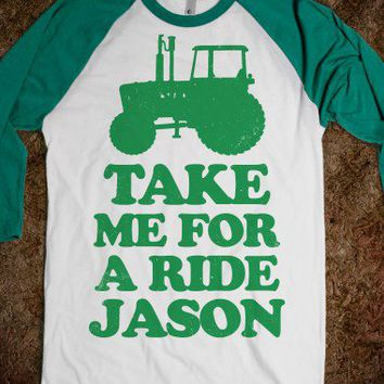 Take Me For A Ride Jason-Unisex White/Evergreen T-Shirt