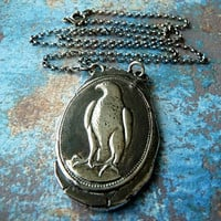 Hunting Falcon Fine Silver Wax Seal Necklace. Wax Seal Jewelry. Large