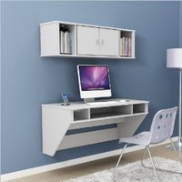 Amazon.com: Prepac Designer Floating Desk with Hutch in Fresh White Finish: Office Products
