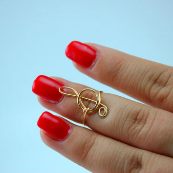 Treble Clef Knuckle Ring/ Music Note Knuckle Ring/ Treble Clef Midi Ring/ Music Note Midi Ring/ Music Note Jewelry