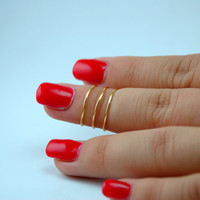 Three Layer Knuckle Ring/ Wire Knuckle Ring/ Swirl Knuckle Ring/ Three Knuckle Rings/ Midi Ring