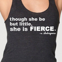 Though she be but little she is fierce womens american apparel workout tank top racerback black blue shakespeare midsummer night's dream