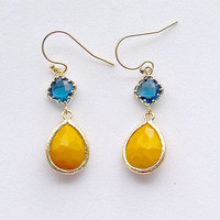 Navy and Yellow Drop Earrings Gold Filled Earwire by FiveThirty