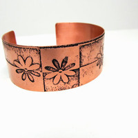 Geometric Flowers Copper Cuff Bracelet Etched Metal Design OOAK