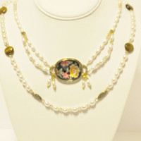 Vintage Inspired Pearl Necklace with Floral Glass Centerpiece - Three Strands Can be worn with One, Two or All Three