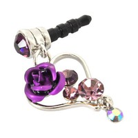 Universal 3.5mm Headphone Jack Stopple Charm - Silver Heart & Rose w/ Purple Gems