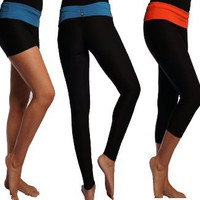 Performance Dry Fit Fitness Yoga Workout Cycling Fold Over Pants Leggings Capris Shorts: Sports & Outdoors