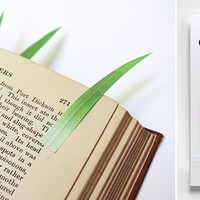 Japan Trend Shop | Green Marker Grass Sticky Notes Bookmark 3 Pack Set