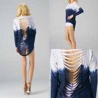 Dip Dye Slasher Back Top
