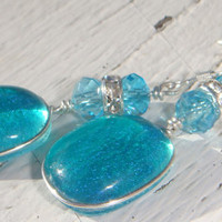 Turquoise Aquamarine dangle earrings with by GeckoGlassDesign