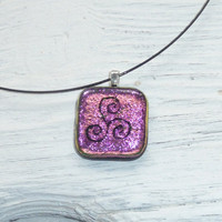 Irish Celtic design megalithic art pendant  by GeckoGlassDesign