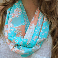 Eternity Scarf, Infinity Scarf, Mint Green, Peach, White