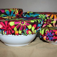 Retro Reusable Picnic Food Lid Bowl Covers by TailaCustomDesigns