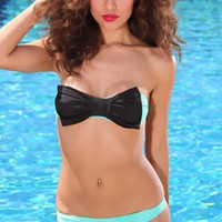 Mint Black Bow Bandeau Pucker Back Swimsuit