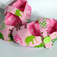 Crib Shoes Baby Girls Pink Elephants and Polka Dots