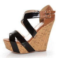 Qupid Finder 48 Black Patent Criss Crossing Platform Wedges - &amp;#36;35.00