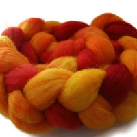 Hand Dyed Roving in Red Yellow and Orange by flickertailfibers