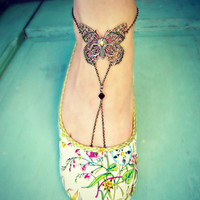 unique butterfly anklet, foot piece, leg piece, butterfly jewelry, butterfly accessory, vintage style