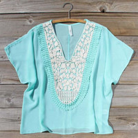 Song Bird Blouse in Mint, Sweet Bohemian Lace Tops