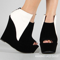 White Black Ankle Booties Wedge Platform Heel Chunky 80s Fashion Shoe Mod Trend