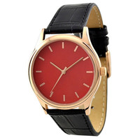 Rose Gold Watch with rose gold indexes in red face