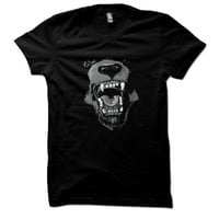 Animal Design Men&#x27;s Shirt Angry Bear Hand Printed Cotton American Apparel Black T-Shirt